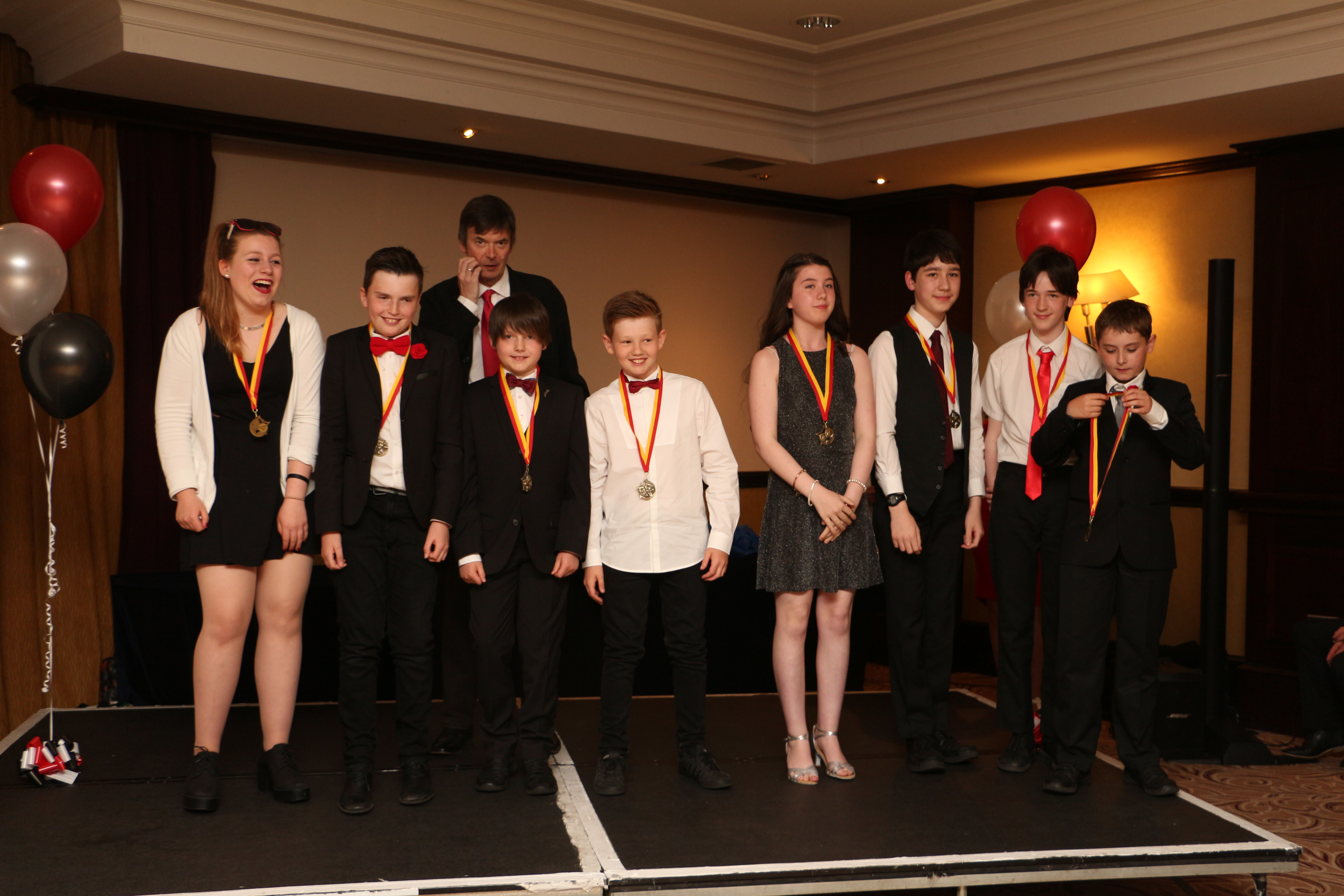 Ian Rankin With Best Junior Film Winners.JPG